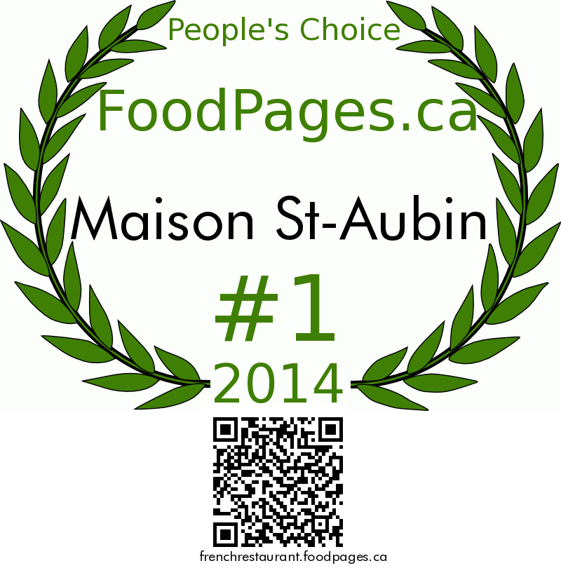 Maison St-Aubin FoodPages.ca 2014 Award Winner