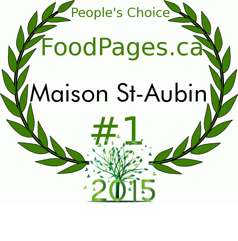 Maison St-Aubin FoodPages.ca 2015 Award Winner